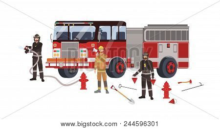 Firefighters Or Firemen Wearing Protective Clothes Or Uniform, Fire Engine And Firefighting Equipmen