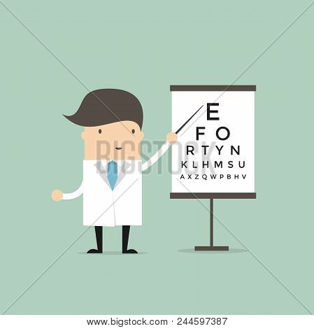 Optometrist Points To The Table For Testing Visual Acuity. Vector