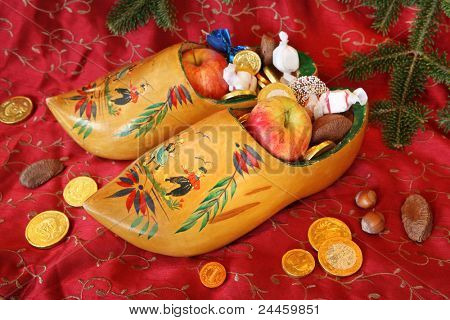 Vintage Wooden Shoes filled with treats for St Nicholas Day