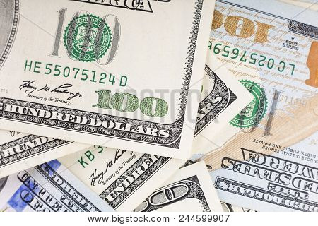 Background Of 100 Dollar Bills. Dollars Usa. A Lot Of Dollar Bills Scattered. Money Concept. Financi