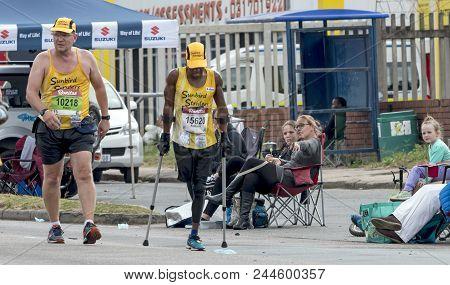 Xolani Luvuno Using Crutches Competing In Comrades Ultra Marathon