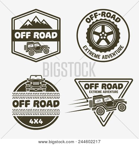 Set Of Four Off-road Suv Car Monochrome Labels, Emblems, Badges Or Logos Isolated On White Backgroun