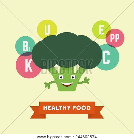 Funny Cartoon Smiling Broccoli With Vitamins Flying Bubbles Colorful Vector Illustration In Flat Sty