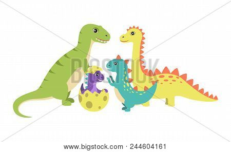 Dinosaurs Collection And Egg With New Generation Of Dinosaur Offspring Of Spiked Creatures Character