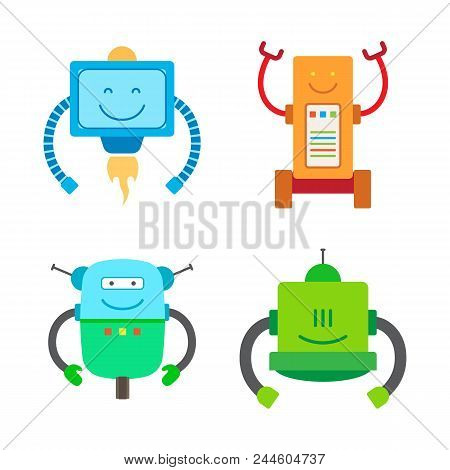 Robotic Creatures Collection, Robots Of Different Types And Robots With Long Hands Set, Mechanism Ve