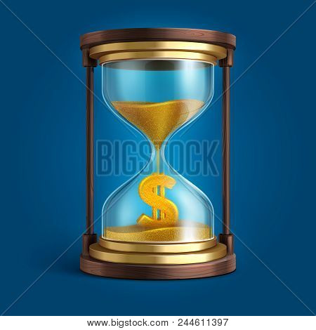 Hourglass With Flowing Sand And Dollar Currency Sign. Time Is Money Vector Concept. Finance And Cloc
