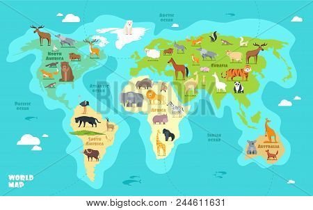 Cartoon World Map With Animals, Oceans And Continents. Funny Geography For Kids Education Vector Ill