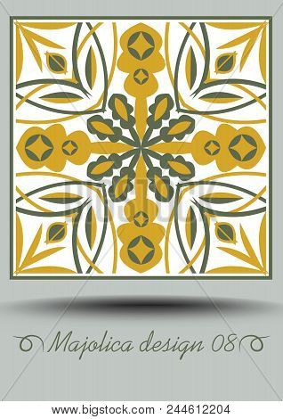 Majolica traditional ceramic tile in nostalgic ocher and olive green design with white glaze. Typical ceramic, azulejo portuquese pottery product with multicolored geometric ornament. Vector EPS 10 poster