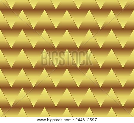 Seamless Golden Triangle Background With Spatial Effect, Golden Gradient, Optical Art Background, Ve