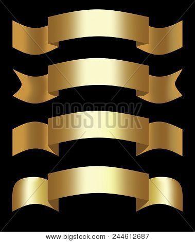Golden 3d Ribbons, Decorative Shapes For Elegant Design, Set Of Four Ribbons. Vector Illustration