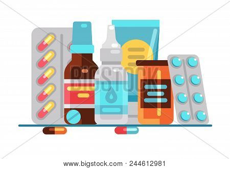 Medical Pills And Bottles. Healthcare, Medication, Pharmacy Or Drugstore Vector Concept. Illustratio