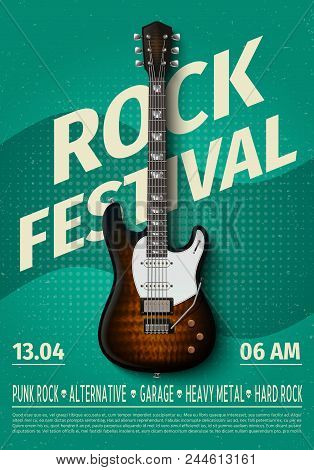 Vintage Rock Festival Flyer With Electric Guitar. Retro Music Concert Affiche, Poster With Typograph