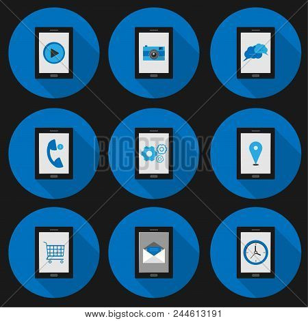 Set Flat Icon Smartphone Social