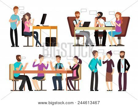 Businessman And Woman Have Conversation In Different Business Situations In Office. People Meeting V
