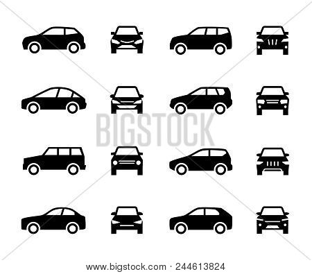 Cars Front And Side View Signs. Vehicle Black Silhouette Vector Icons Isolated On White Background.