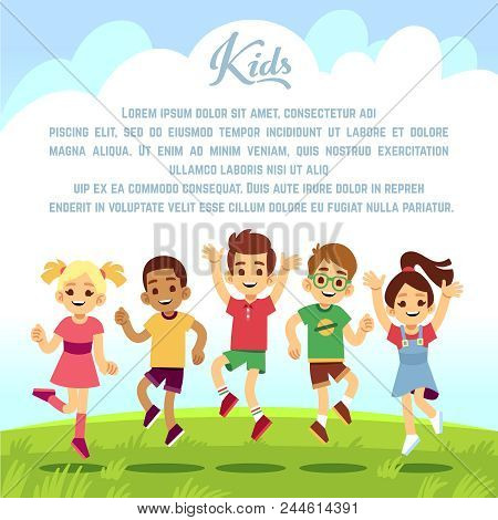 Happy School Kids, Fun Friends Jumping And Playing Togeter Outdoors. Summer Holiday Vector Backgroun