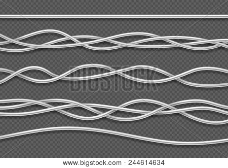 Electric Cables. Realistic Electrical White Industrial Wires. Isolated Vector Set. Wire Connection,