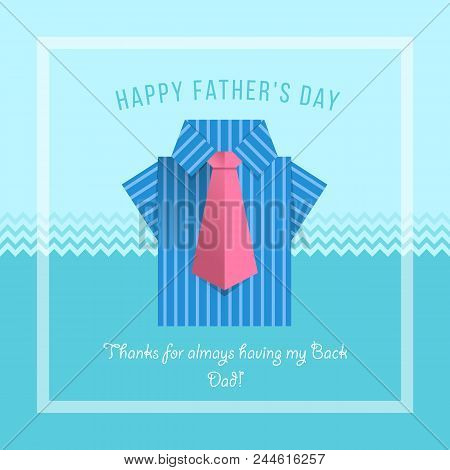 Happy Father's Day Banner Card With Origami Blue Shirt And Pink Necktie In White Frame On Blue Sea B