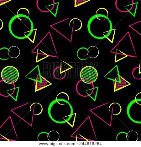 Abstract bauhaus geometric ornament, seamless pattern for printing on textiles, background, poster, banner. Memphis style colorful design - neon colors on black poster