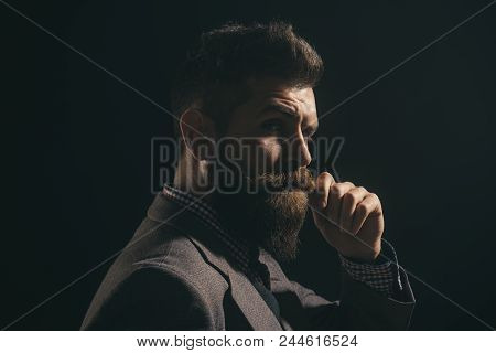 Serious Fashionable Man With Beard&mustache In Suit. Handsome Stylish Bearded Man In Formal Suit. Me
