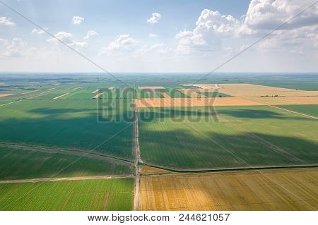 Aerial View Of Agricultural Fields. Countryside, Agricultural Landscape Aerial View.