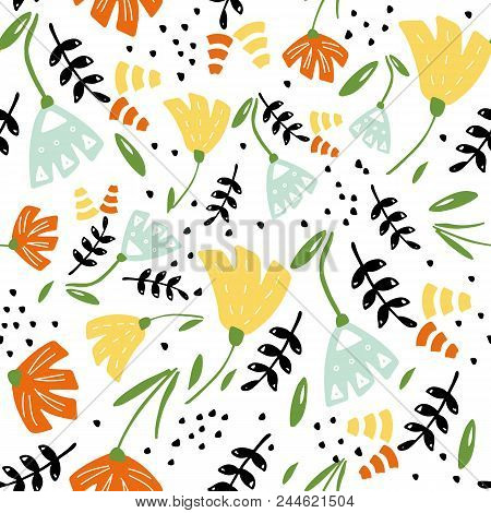 Trendy Floral Pattern In The Many Kind Of Flowers. Botanical Motifs Scattered Random. Seamless Vecto