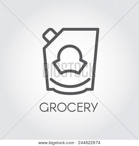Mayonnaise, Ketchup, Doypack Or Mustard Icon. Grocery Concept Line Label. Food Series. Vector Illust