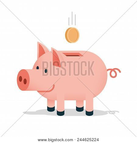 Pig Piggy Bank With A Falling Coin - Colored Cartoon Isolated Illustration