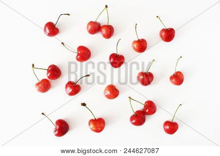 Summer Fruit Pattern. Healthy Fresh Red Cherries Isolated On White Table Background. Food Pattern. M