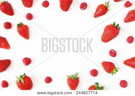 Summer Fruit Pattern. Healthy Fresh Red Strawberries And Raspberries, Isolated On White Table Backgr