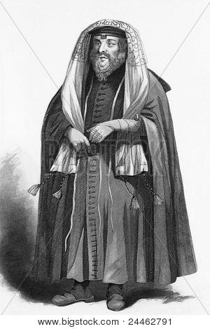 Jewish rabbi dressed for prayers. Engraved by R.Young and published in The Faiths of the World, A Dictionary of All Religions and Religious Sects, United Kingdom, 1858.