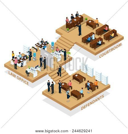 Isometric Advocacy Concept With People Visiting Law Office For Customer Protection And Lawyer Protec