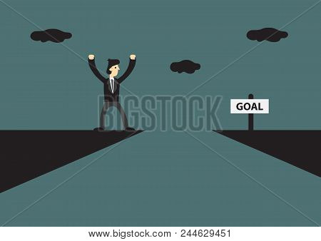 Cartoon Businessman Standing On Edge Of Mountain Cliff, Trying To Reach His Goal On The Other Side.