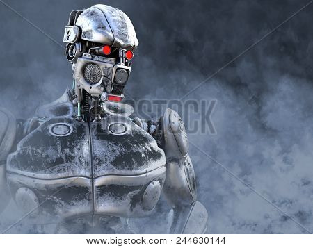 3d Rendering Of A Futuristic Mech Soldier In A Polluted Futuristic Dystopian World. Toxic Smoke All