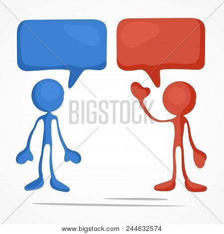 Business Meeting, Stick Figures With Dialog Speech Bubbles. Vector Illustration.