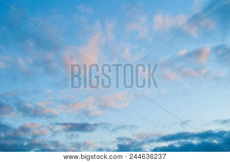 Blue Sky Sunrise Landscape With Dramatic White And Pink Clouds - Vast Sky View. Picturesque Vast Sky