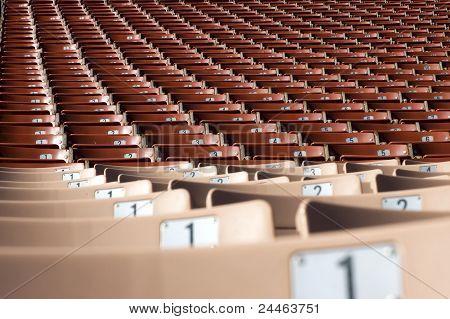 Rows of stadium seating