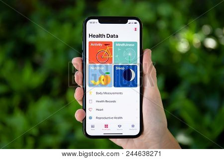 Koh Samui, Thailand - March 21, 2018: Woman Hand Holding Iphone X With App Health Data On The Screen