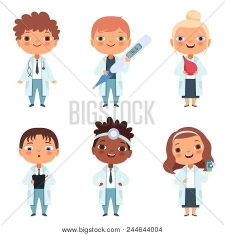 Children In The Doctor Profession In The Various Action Poses. Kids Job And Occupation Medical, Vect