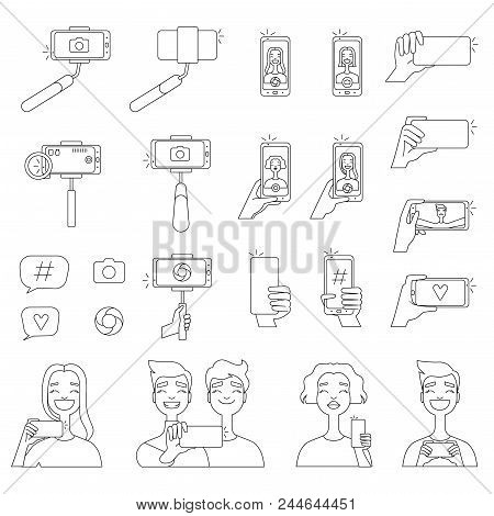 Mono Line Pictures Of Various Tools For Self Photography. Selfie Concept Illustrations. Photo Selfie