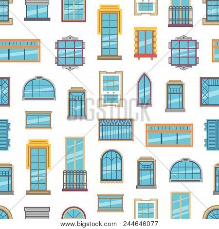 Vector Window Flat Icons Background Or Pattern Illustration. Architecture Frame Windows Glass Exteri