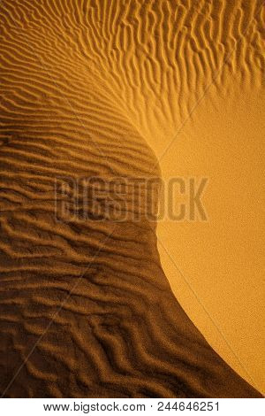 Natural Patterns Made Of Sand Ripples In The Hot Mesquite Flat Sand Dunes, Death Valley National Par