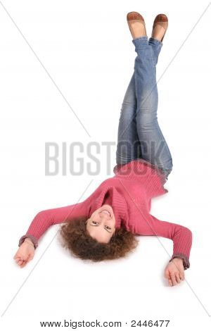 Young Woman Lies By Feet