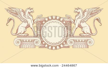 Vintage emblem. Hand draw sketch ionic architectural order. Bitmap copy my vector ID 84472300