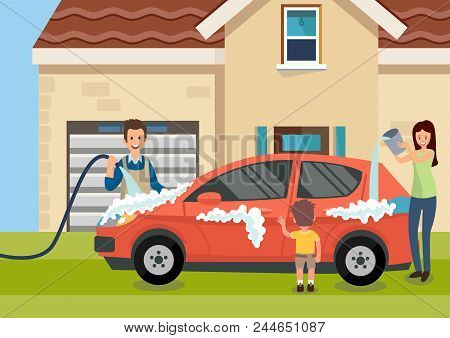 Cartoon Happy Family Washes Car Near Home Vector Illustration. Clipart. Flat Style.
