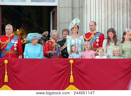 Queen Elizabeth & Royal Family, Buckingham Palace, London June 2018- Trooping The Colour Prince Geor