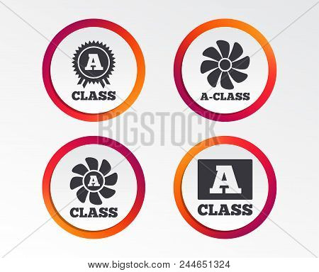 A-class Award Icon. A-class Ventilation Sign. Premium Level Symbols. Infographic Design Buttons. Cir