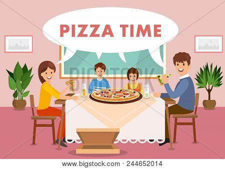 Cartoon Happy Family Is Having Lunch In Restaurant. Pizza Time. Fast Food Lifestyle. Vector Illustra