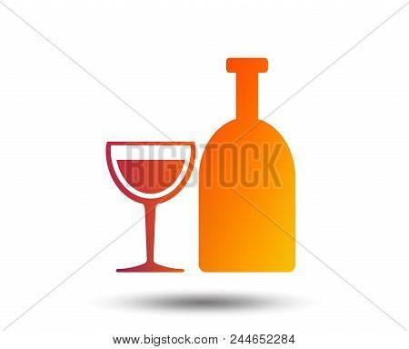 Alcohol Sign Icon. Drink Symbol. Bottle With Glass. Blurred Gradient Design Element. Vivid Graphic F