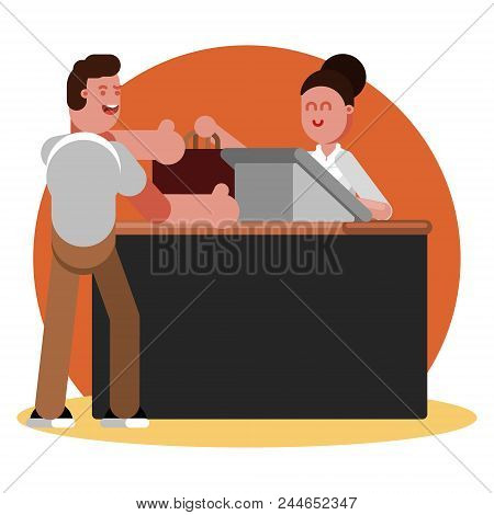 Man Buys Clothing In Clothing Shop. Vector Illustration, Eps 10